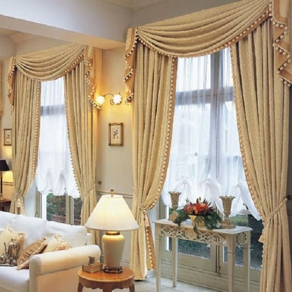 Rèm vải tân cổ điển đẹp cho phòng khách