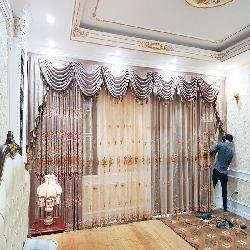 Rèm vải tân cổ điển nhung thêu cao cấp 05
